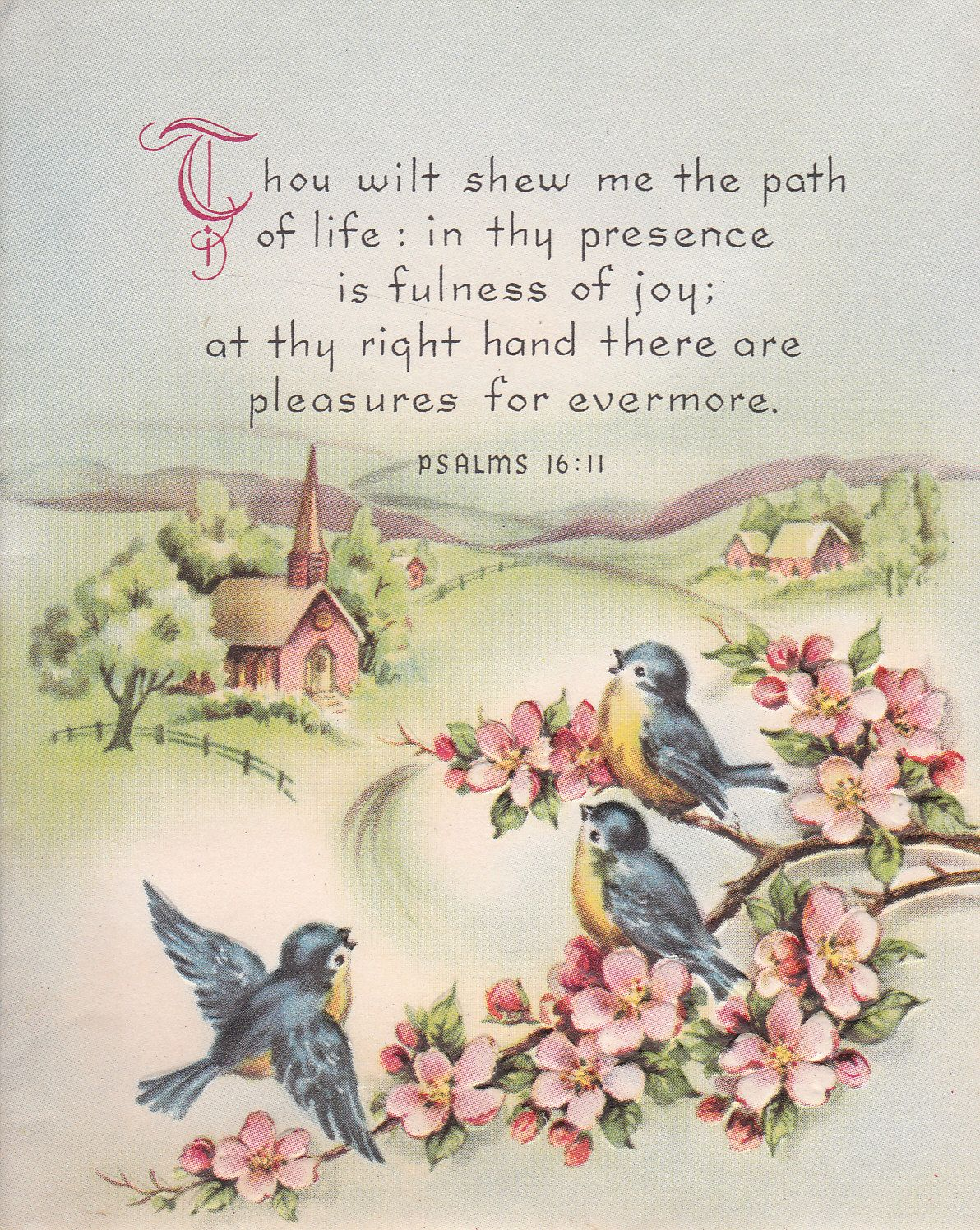 Vintage Greeting Card With Scripture Church And Bluebirds Cards