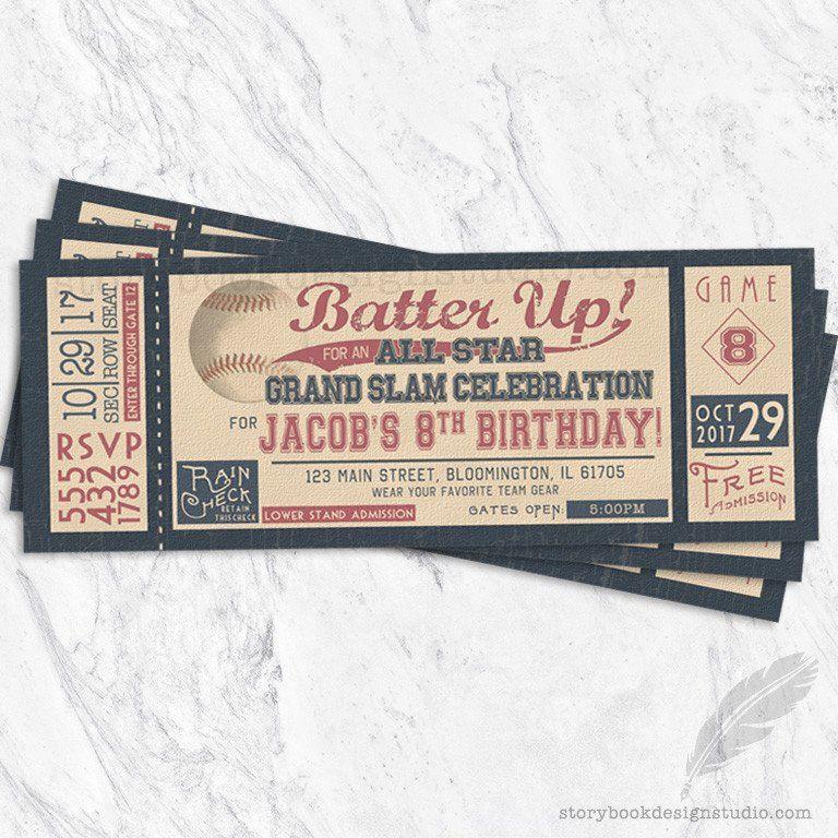 Ticket Birthday Party Invitations