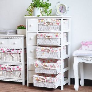 Details About White Chic Chest Of Drawers 2 3 Wicker Basket Storage Unit Bedside Table Cabinet Otthon Es Kosar