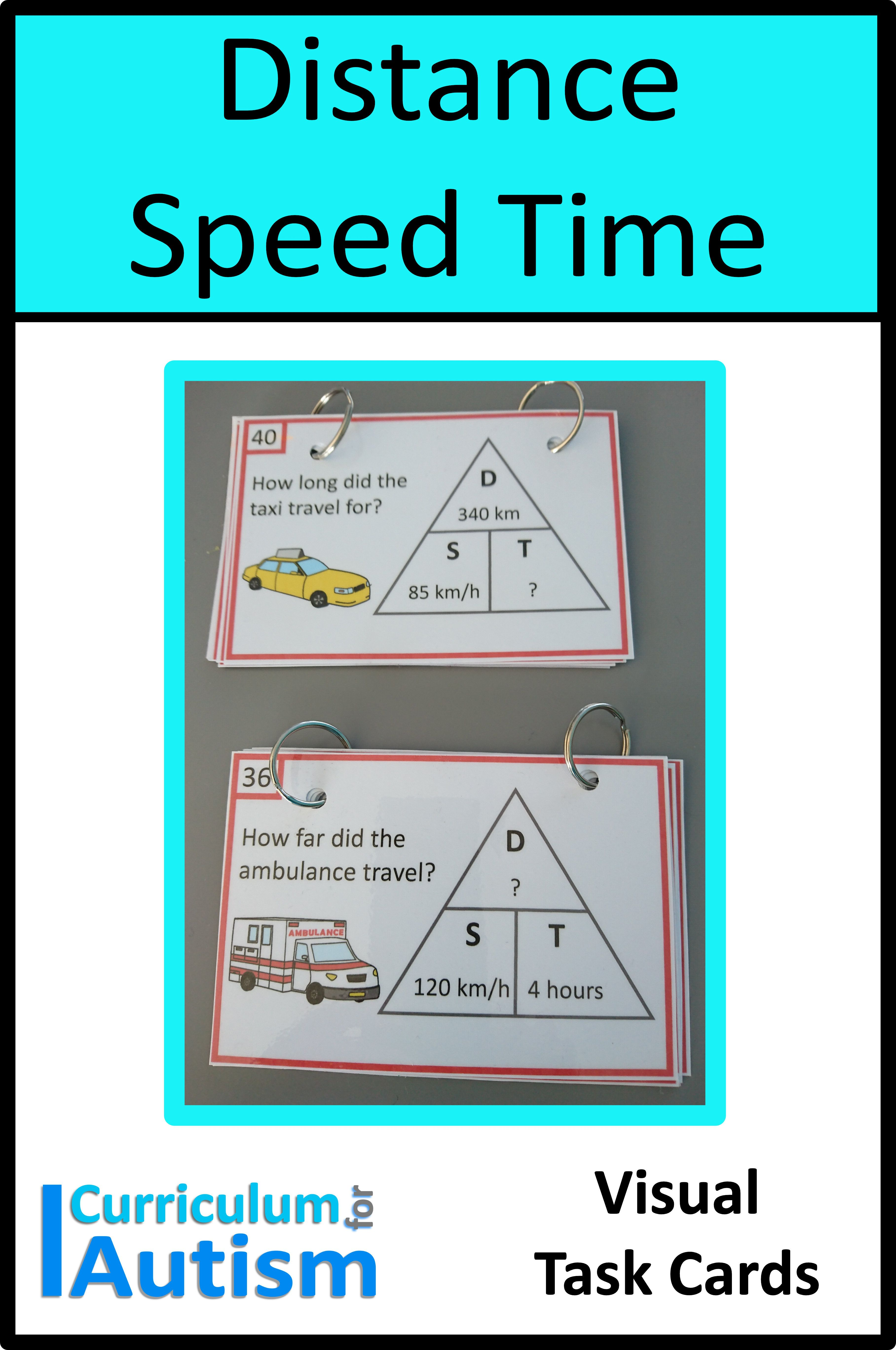 Speed Distance Time Visual Task Cards