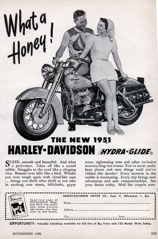 Harley Davidson Advertising: 1950 Harley Davidson Ad From Popular Mechanic Magazine