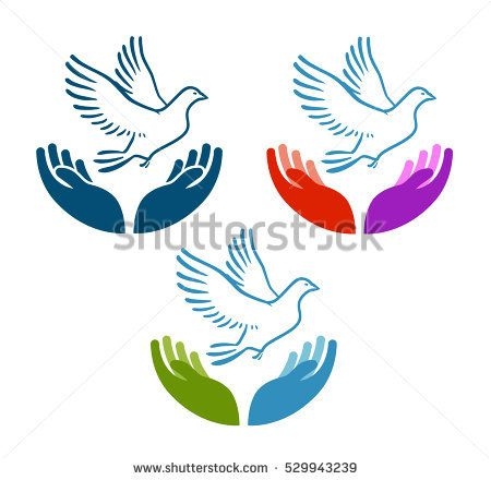 Pigeon of peace flying from open hands icon. Charity, ecology, natural environment vector logo or symbol