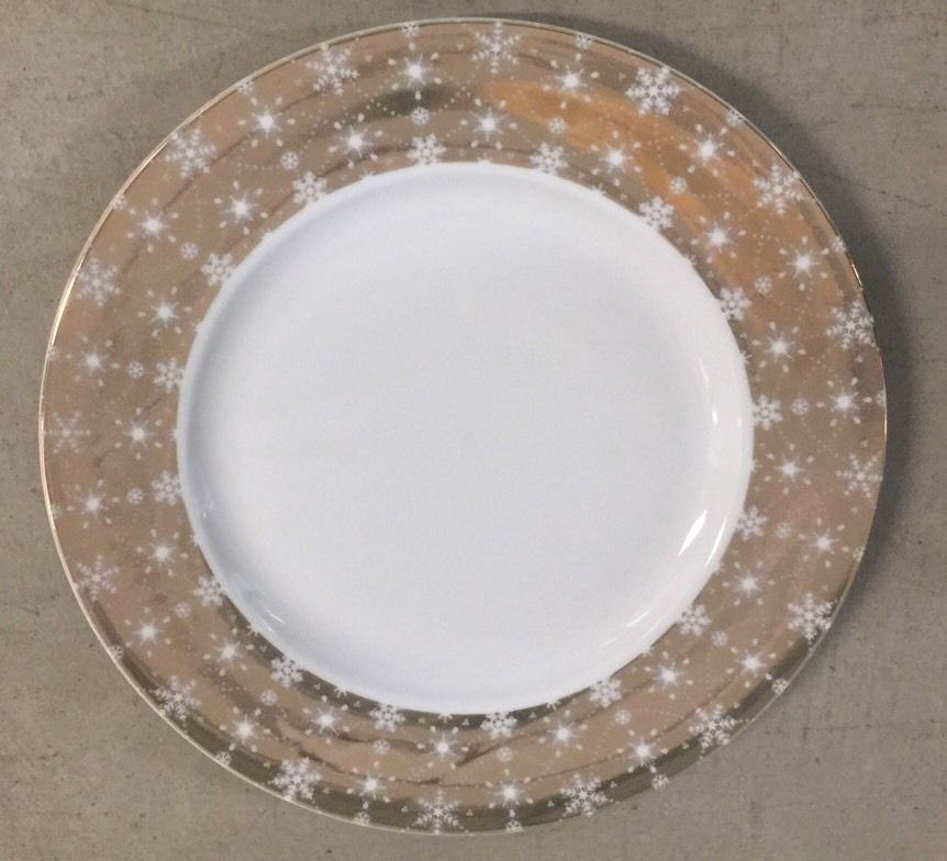222 Fifth Snow Crystal Dinner Plates Set Of 4 Metallic Gold Christmas Holiday #222fifth