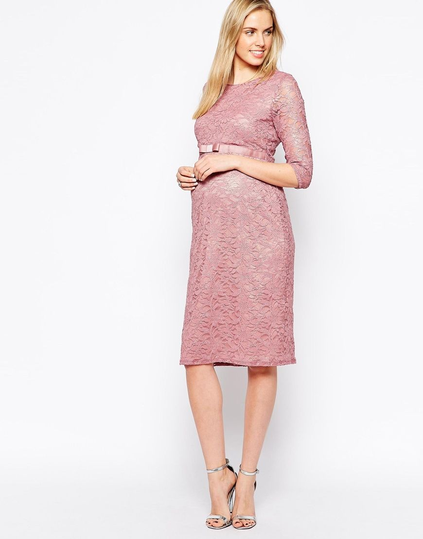 3eea4c60e1cbb Image 4 of ASOS Maternity Lace Body-Conscious Dress With 3/4 Sleeve And  Ribbon Detail