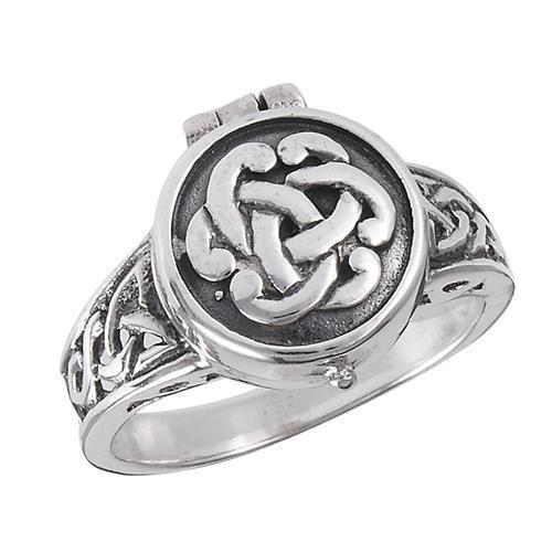 Sterling-Silver-925-Poison-Ring-CELTIC-Knotwork-Design-OPENS-Size-8