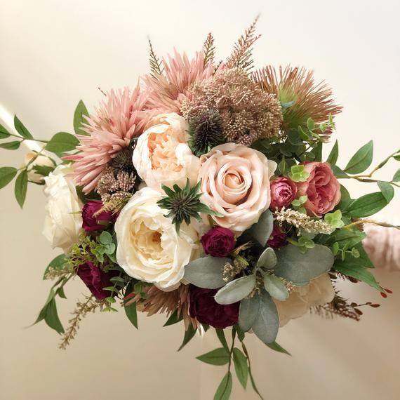 READY TO SHIP - Bridal Bouquet- Silk Cream/Burgundy Bridal Bouquet - Destination Wedding Bouquet - Garden Style Bridal Bouquet #silkbridalbouquet