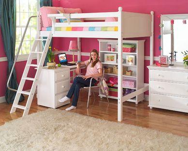 Maxtrix High Study Loft W Angled Ladder Kids Loft Beds Girls Loft Bed Bed With Desk Underneath