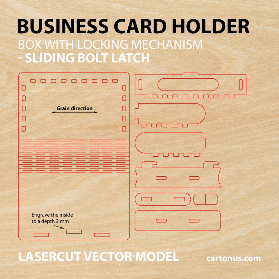 Wooden box with sliding bolt latch Lasercut vector model suitable ...