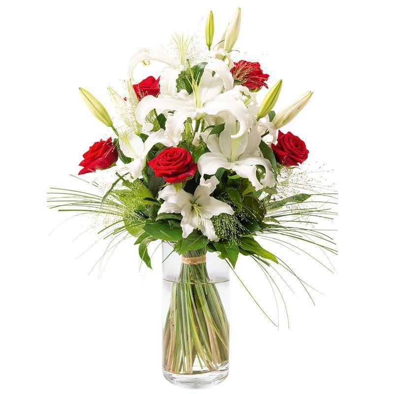 Bouquet moyennes tiges classique de lys blancs et roses for Bouquet de lys