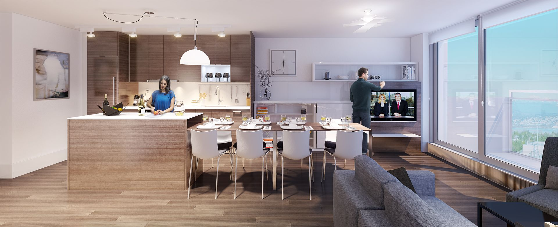 The same modest kitchen-diner can then expand vastly to ...
