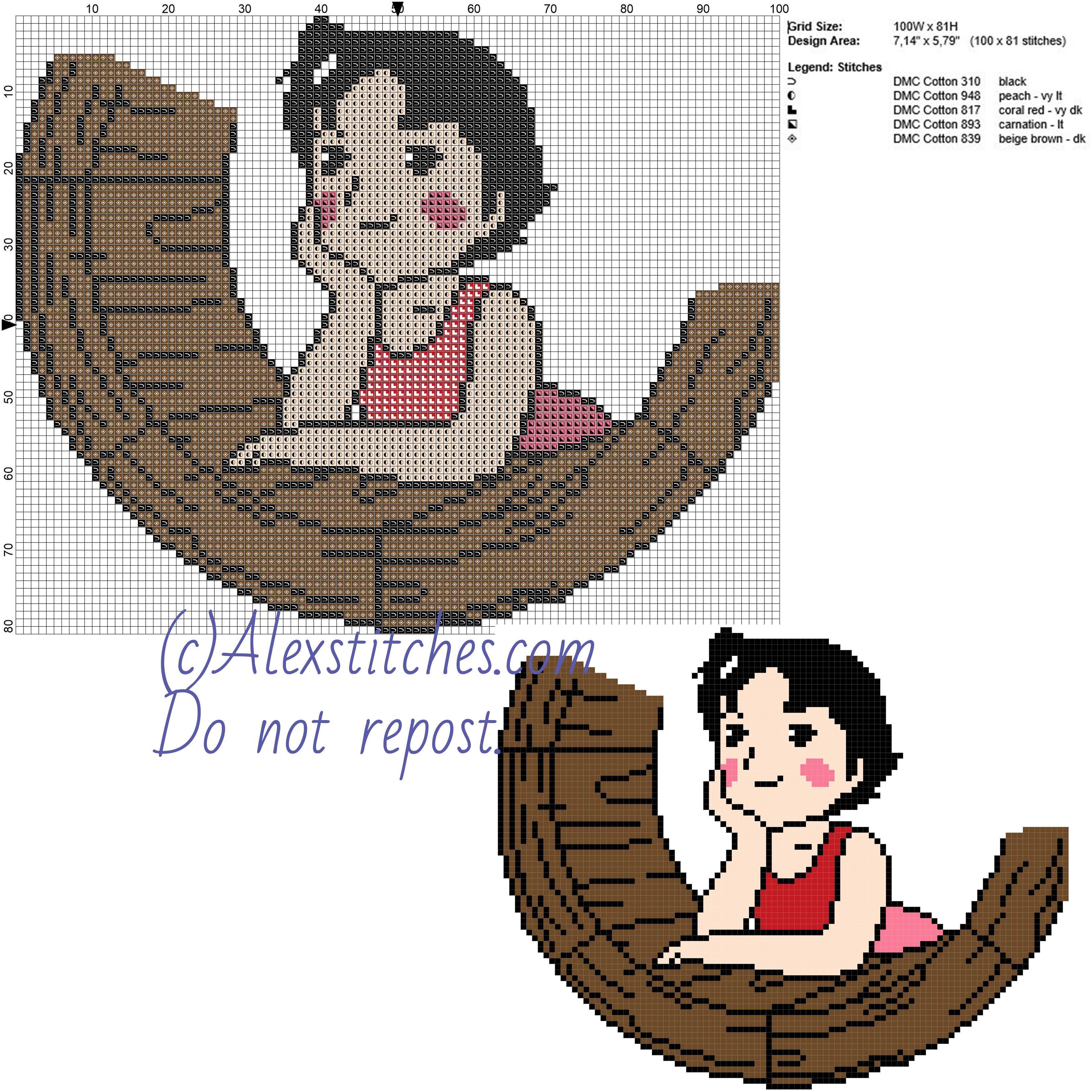 Heidi cartoons free cross stitch pattern 100x81 5 colors
