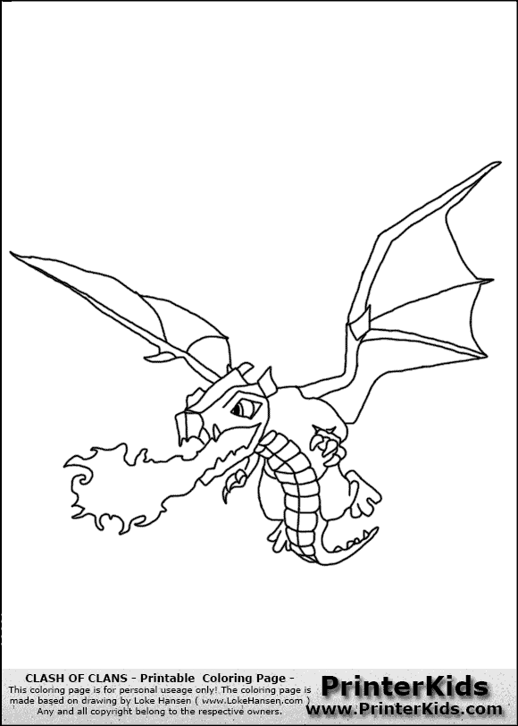 Clash Of Clans Dragon 1 Coloring Page Clash Of Clans