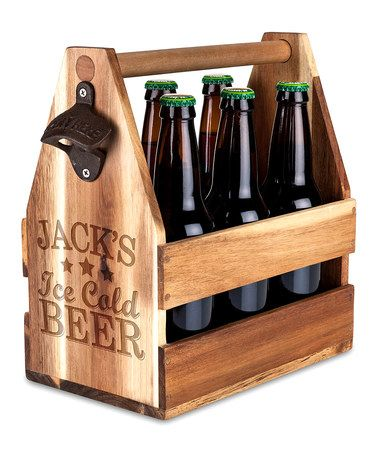 Another great find on #zulily! 'Ice Cold Beer' Personalized Wood Beer Caddy #zulilyfinds