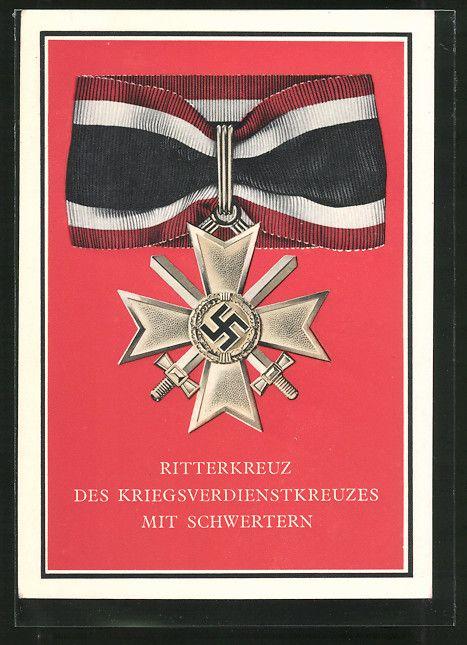 old postcard: AK Ritterkreuz des Kriegsverdienstkreuzes mit Schwertern