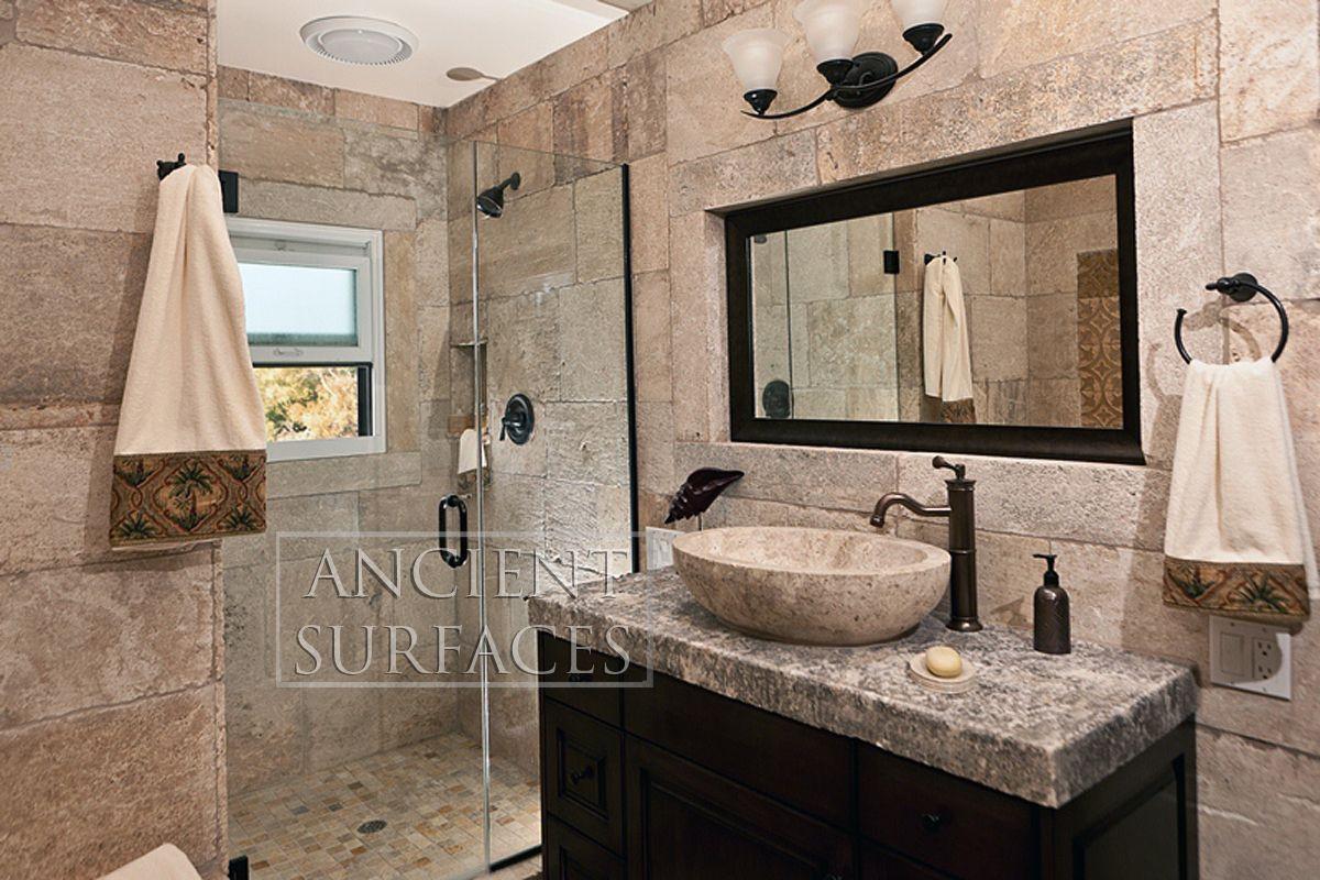 Kronos Limestone cladding on a master bathroom wall   Idea\'s for the ...