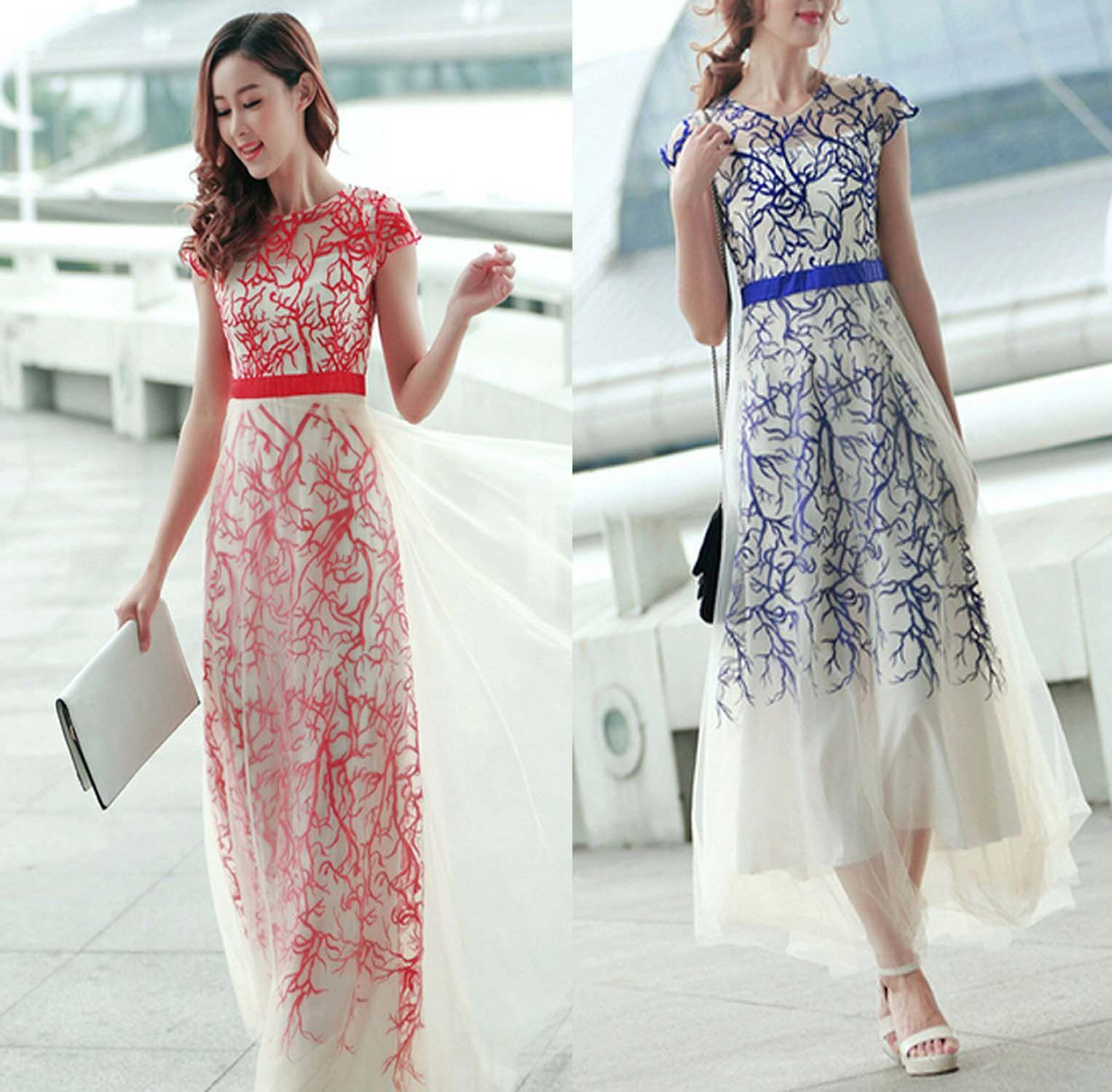 New arrival embroidery long prom dress evening dresse sweetheart