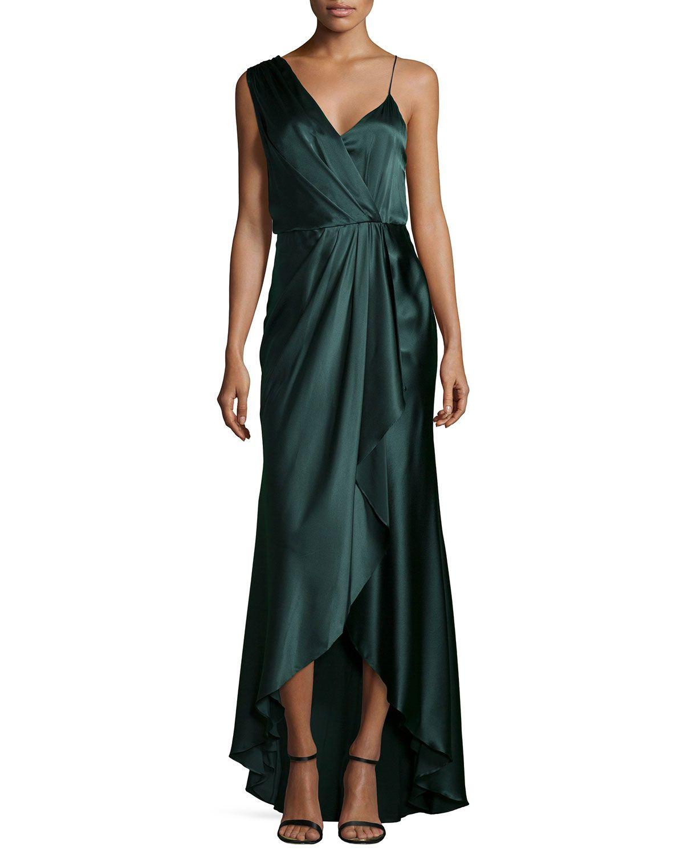 Green dress for wedding  Charmeuse Sleeveless VNeck Gown Emerald Green Size   Haute