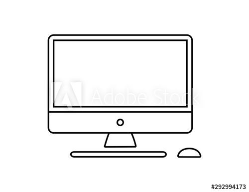 Computer Monitor Keyboard And Mouse Icon Vector Illustration Computer Line In Cartoon Style Screen Computer Mon Computer Generation Cartoon Styles Mouse Icon