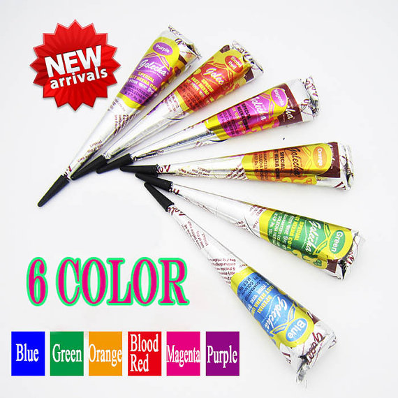 Set Of 6 Colored Cone Natural Herbal Multi Colored Henna Cones