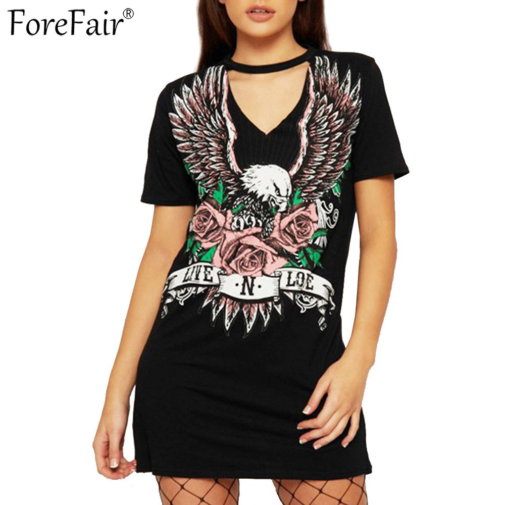 Forefair eagle print summer dress plus size casual robe femme