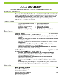 Teacher Resume Examples Education Sample Resumes