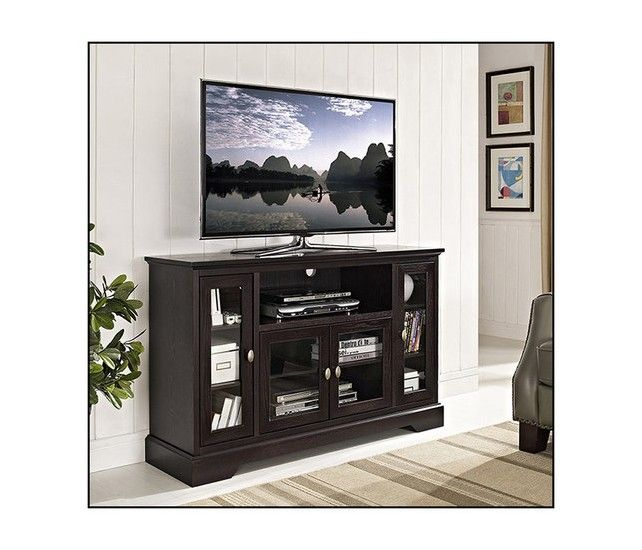 """Walker Edison - Highboy TV Stand for Most Flat-Panel TVs Up to 55"""" - Espresso - Larger Front"""