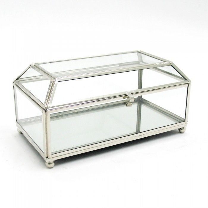 Trapezium Lid Glass Jewellery Box With Nickel Framework Living