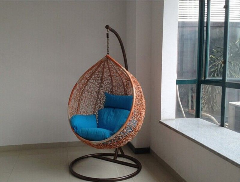 Oval Hammock Chair Stand Made From Natural Rattan Hanging Chair