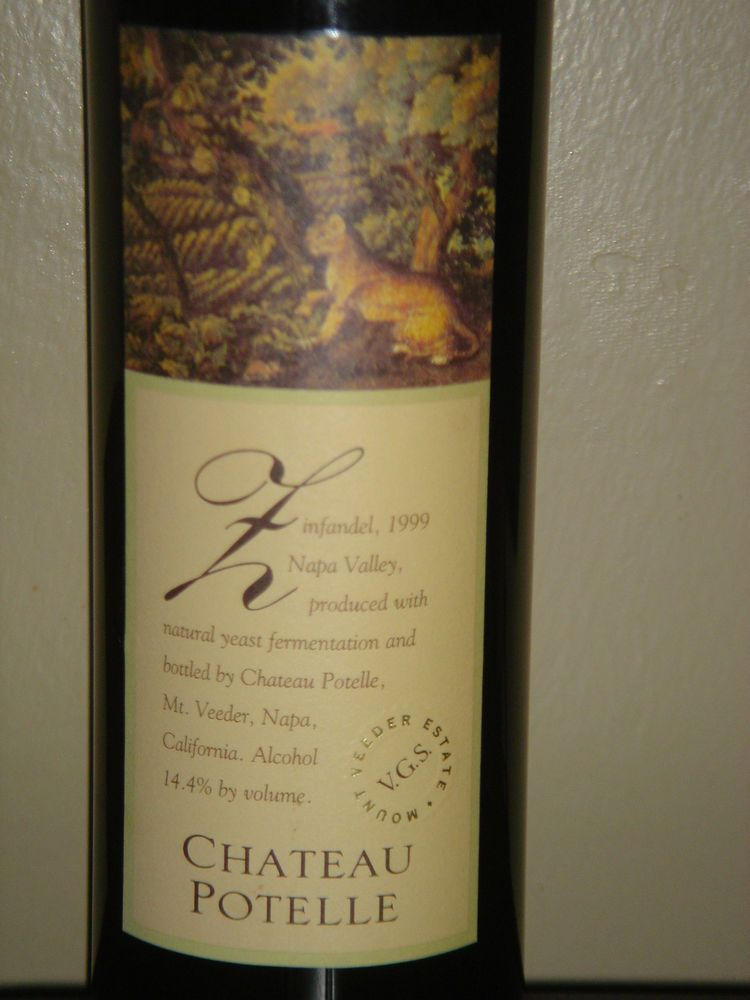 Chateau Potelle 1999 Zinfandel Napa Valley California Wine New Full Sealed Rare #REDWINE A claret-style Zin in its delicacy, harmony and racy balance, but there's nothing reserved about the flavors of this mountain wine. Drinks brightly rich and fruity, with gorgeous tannins. There's a graceful femininity to this wine despite somewhat high alcohol.