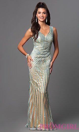 b6d50fb28fc8 Long Striped Beaded Mesh Prom Dress by Elizabeth K at PromGirl.com ...