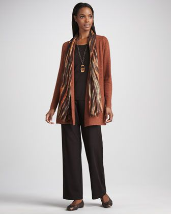Long Wool Cardigan, Long-Sleeve Tee, Blurred Wrap & Straight-Leg Ponte Pants by Eileen Fisher at Neiman Marcus.