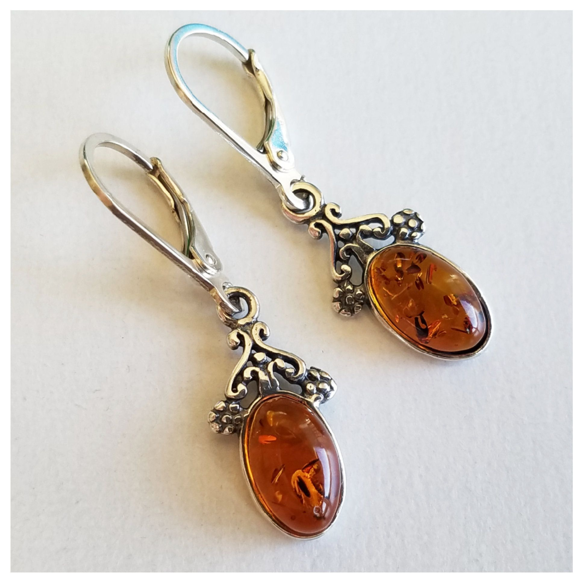 Natural Baltic Amber Earrings In Oxidized Sterling Silver Floral Amber Earrings Amber and Silver Earrings Dangle earrings flower Earrings
