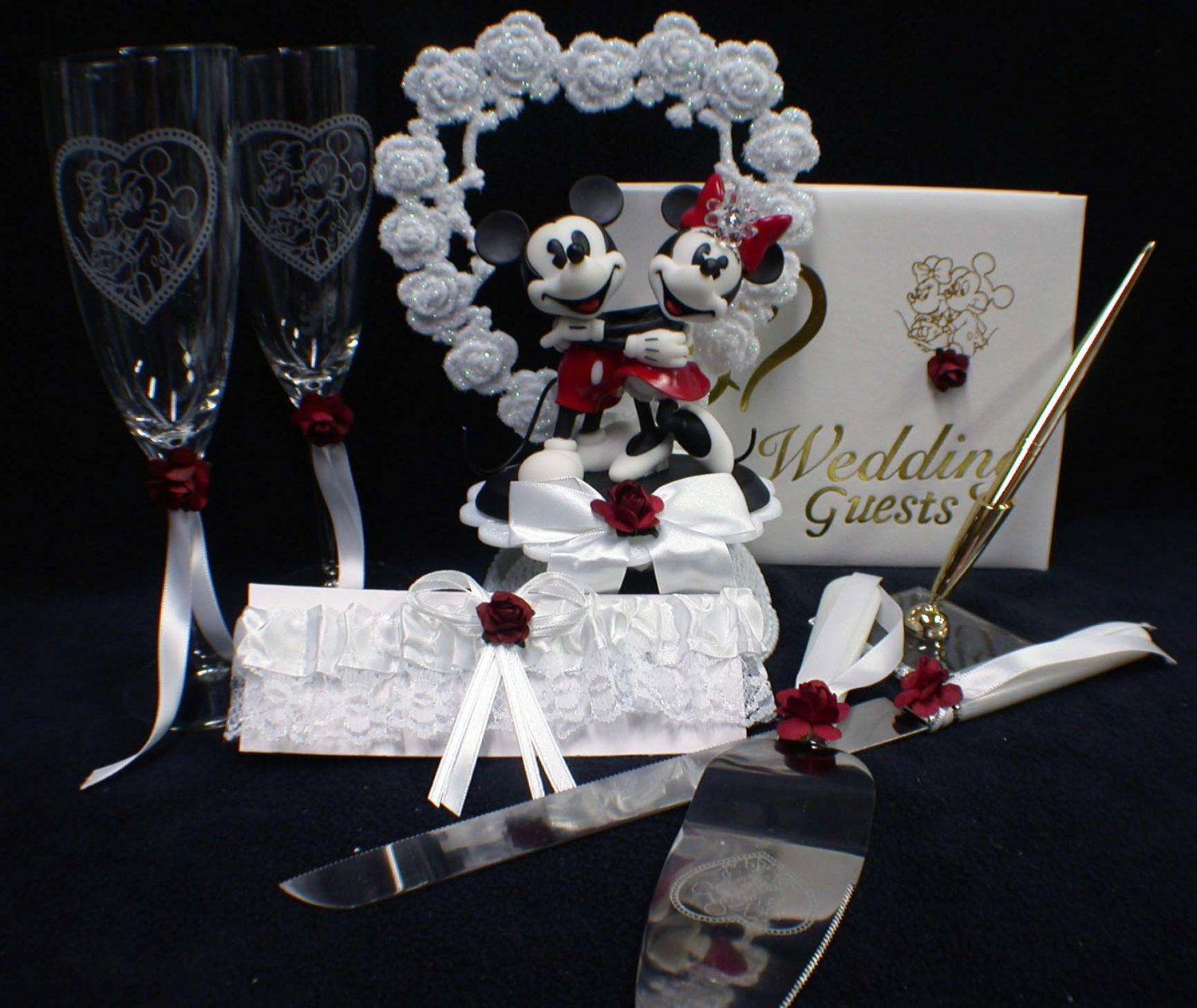 mickey & minnie mouse wedding cake topper lot glasses knife book