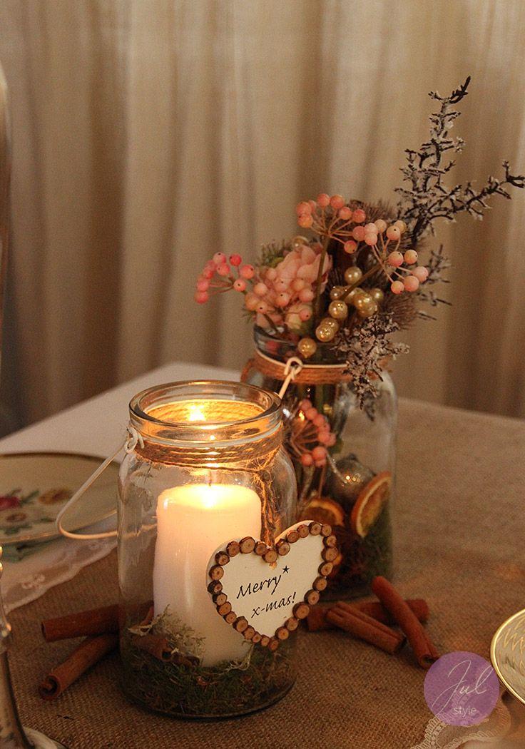 julstyle weihnachtsdeko tischdekoration mit gl sern floristik und jute tischl ufer nicht. Black Bedroom Furniture Sets. Home Design Ideas
