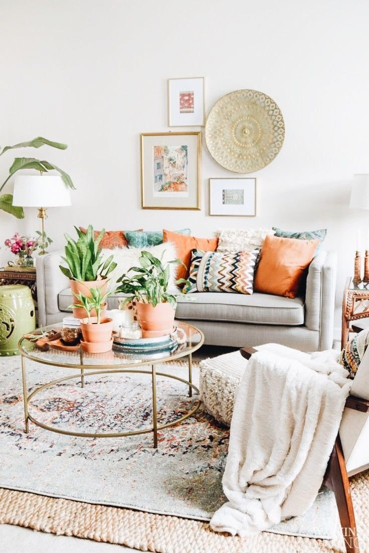 Small Boho Living Room: Neutrals + Pops Of Color