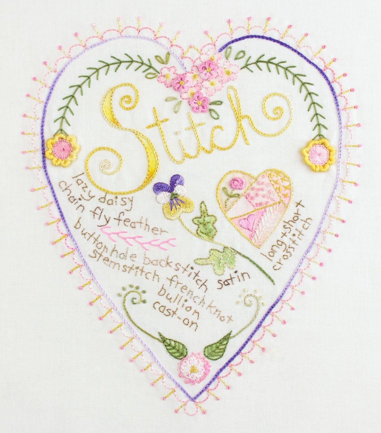 Stitch Heart Sampler   Bordado a mano y crazy 2 IEP