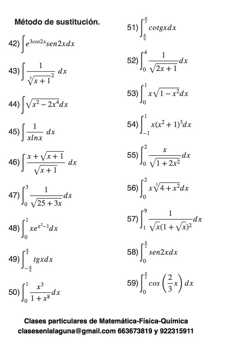 Ejercicios Propuestos De Integrales Método De Sustitución O Cambio De Variable Parte 3 Studying Math Algebraic Expressions Physics Books