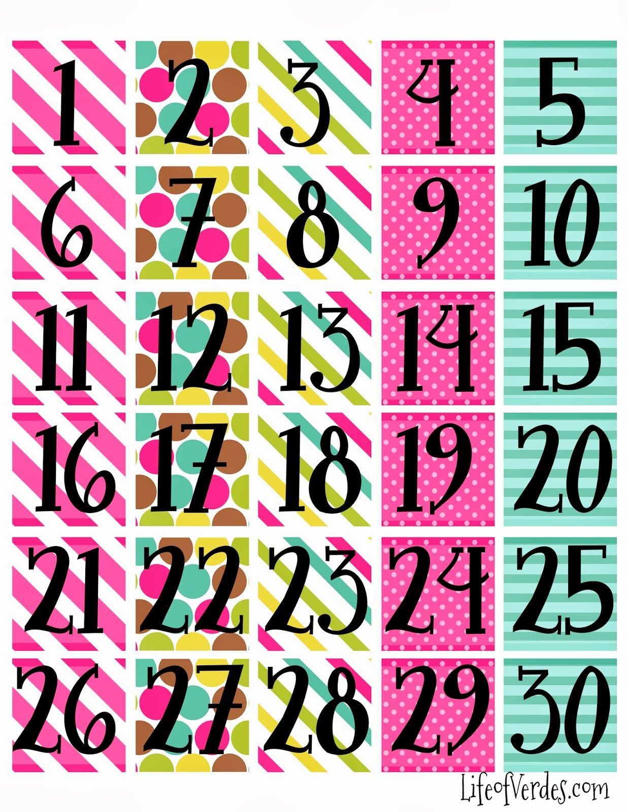 Blank Calendar With Numbers : Free printable calendar numbers household info