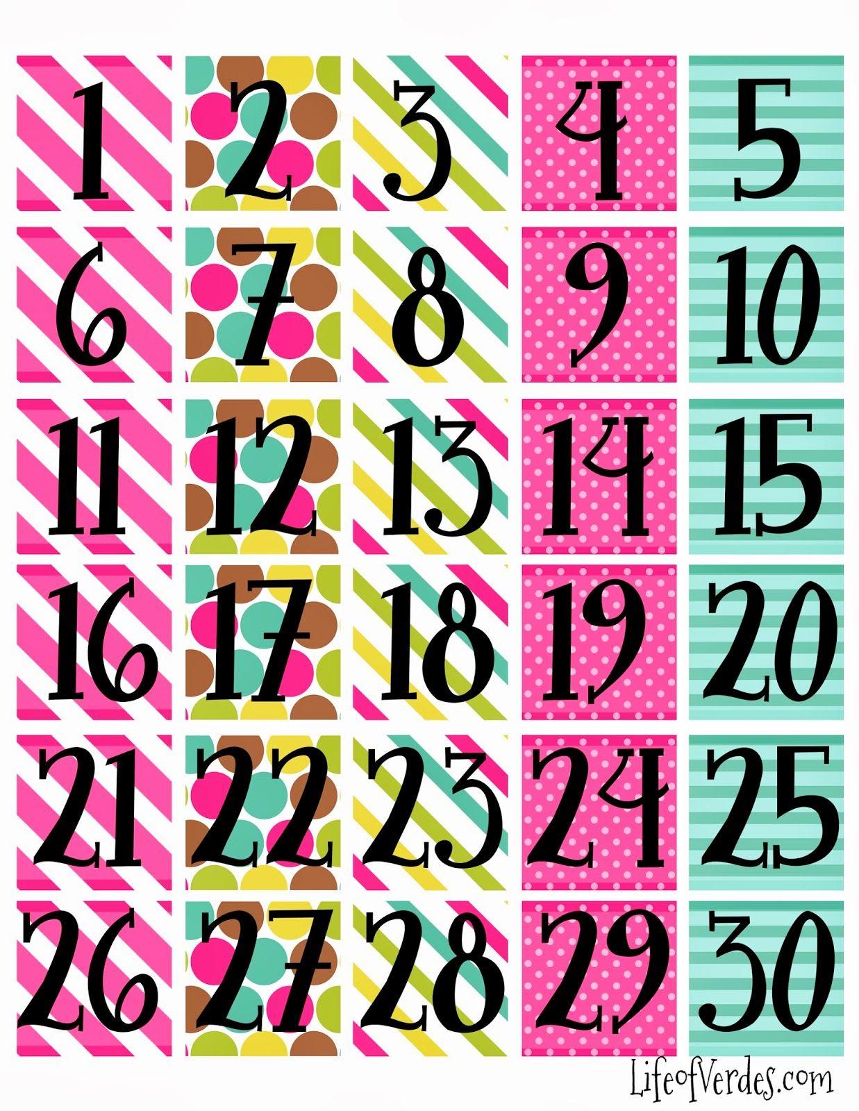 Print Calendar Numbers Free