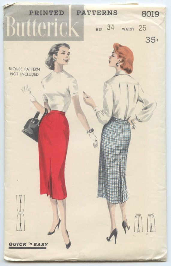 1950s Vintage Sewing Pattern Butterick 8019 \