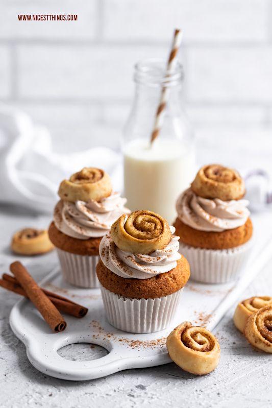 Zimt Cupcakes Rezept mit Mini Zimtschnecken - Nicest Things