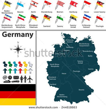 Vector map of Germany with regions and flags Alemania Germany