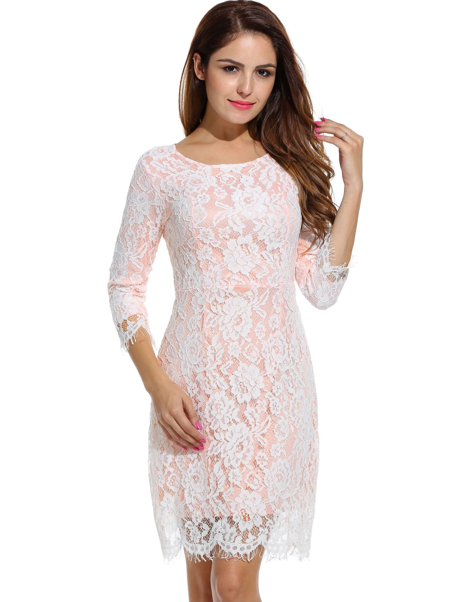 Women casual lace sleeve neck skinny waist going out dresses