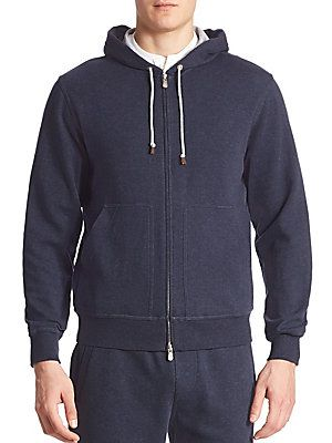 Brunello Cucinelli Long Sleeve Hooded Sweatshirt - Navy - Size