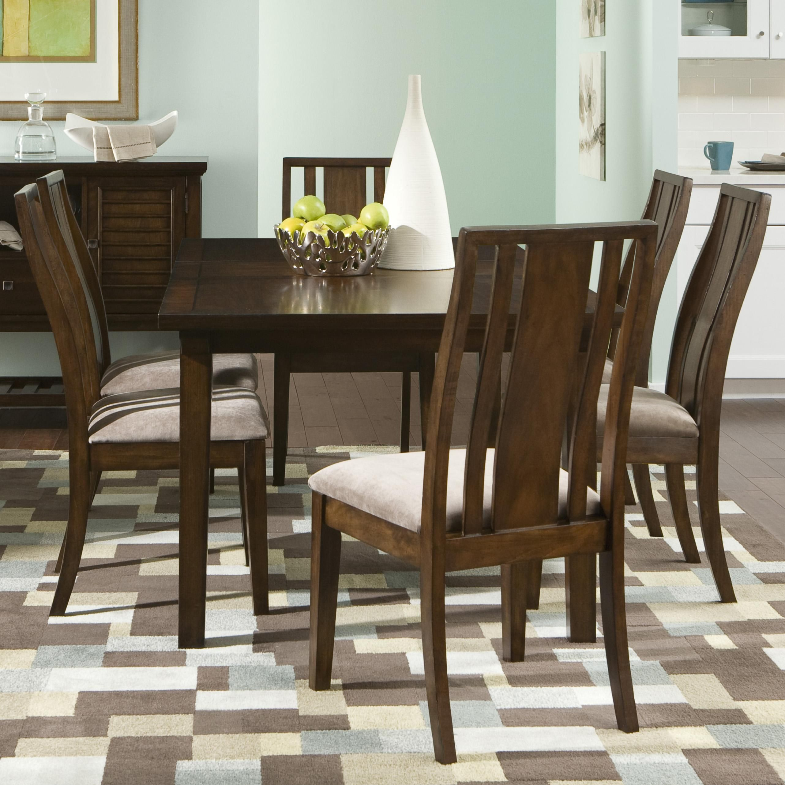 Delaney Dining Set With Rectangular Leg Table And Curved