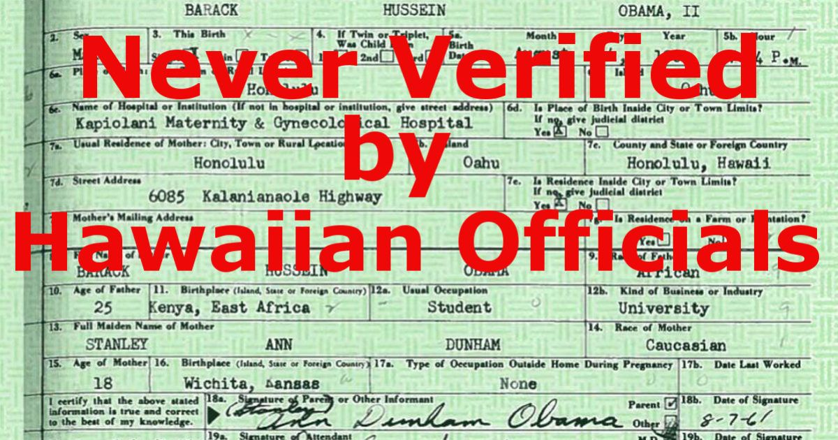 Obama Birth Certificate Never Verified Current Head Lines