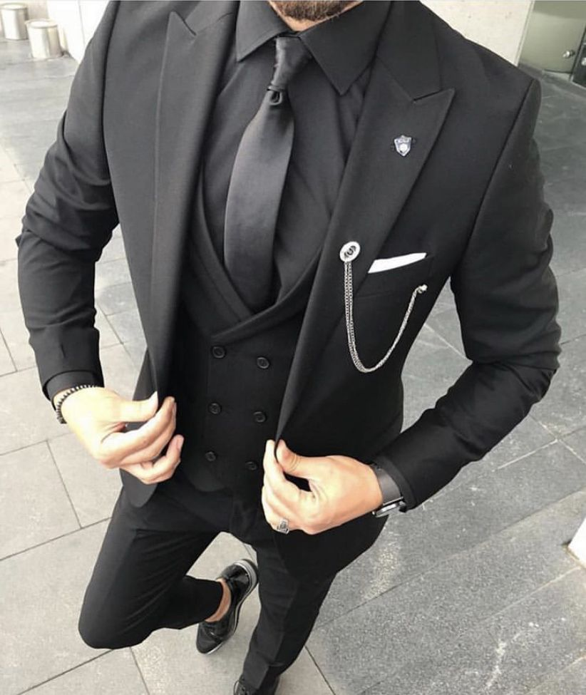 Sexy Meets Class In This Black Three Piece Suit With Black Tie Keep
