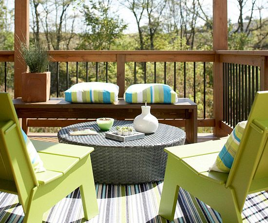 When decorating a deck, be sure to incorporate durable, easy-to-care-for furniture.