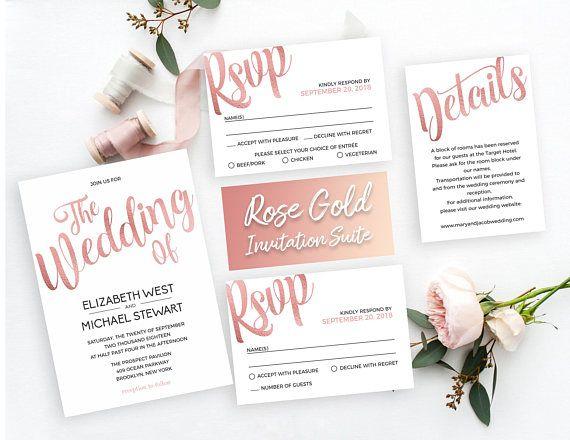 Printable Rose Gold Wedding Invitation Template Suite Rose