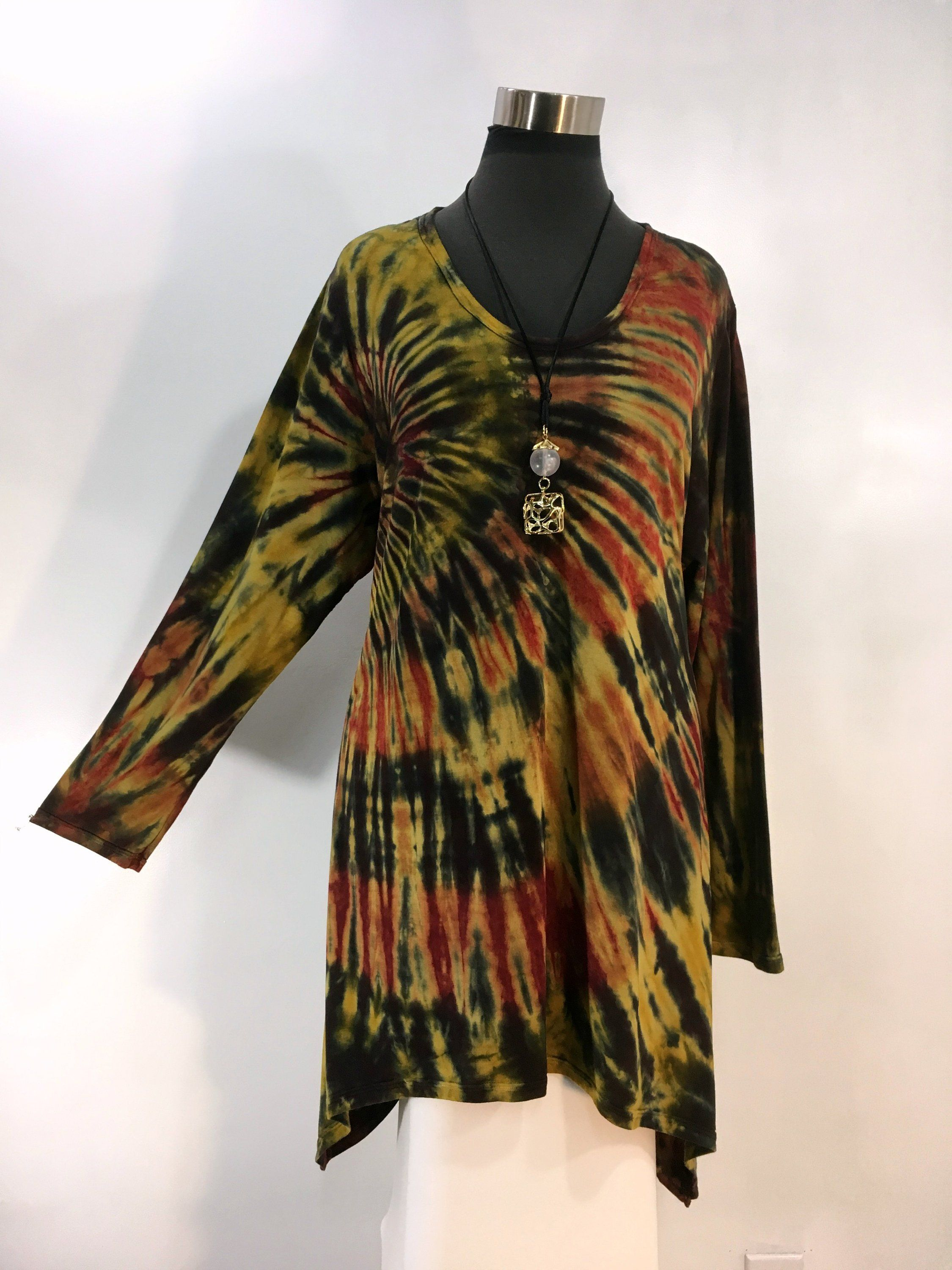 f25e010a22e Plus size 2X tie dye tunic top with sharkbite hemline in bamboo blend fabric.  by qualicumclothworks on Etsy